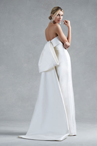 Oscar de la Renta Hunter Wedding Dress Dramatic Bow Silk Mikado Obi Sash