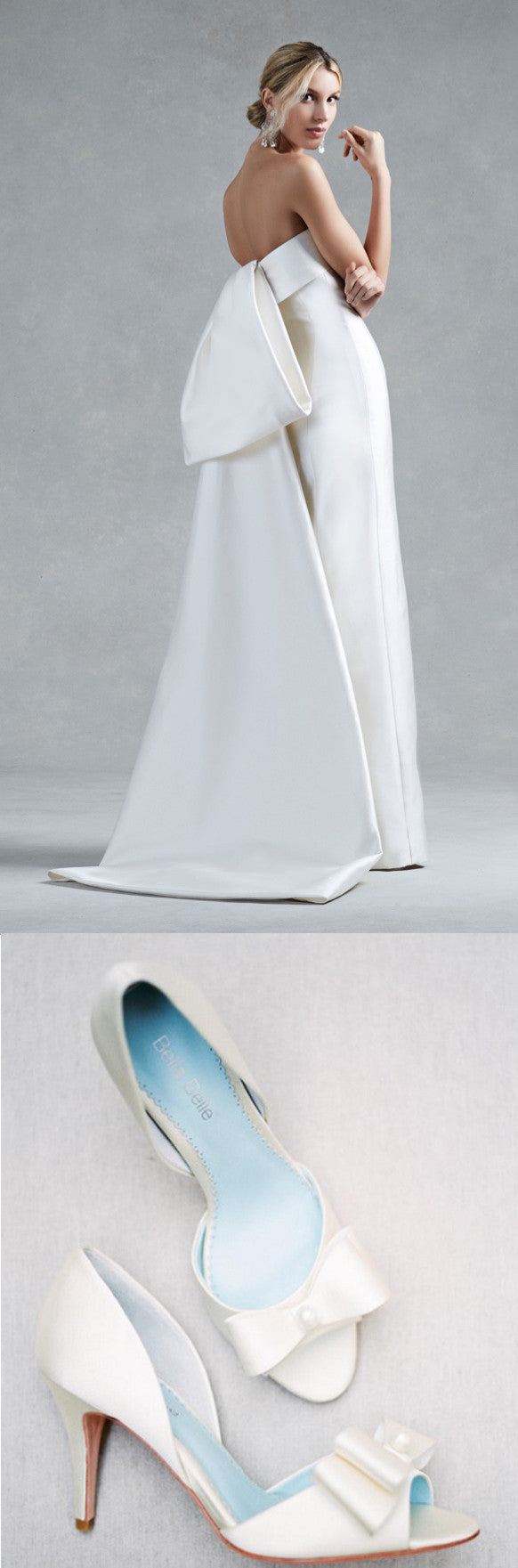 Bella Belle Shoes Julia Something Blue Satin Bow Pearl Sleek Modern Minimalist Elegant and wedding dress Oscar de la Renta