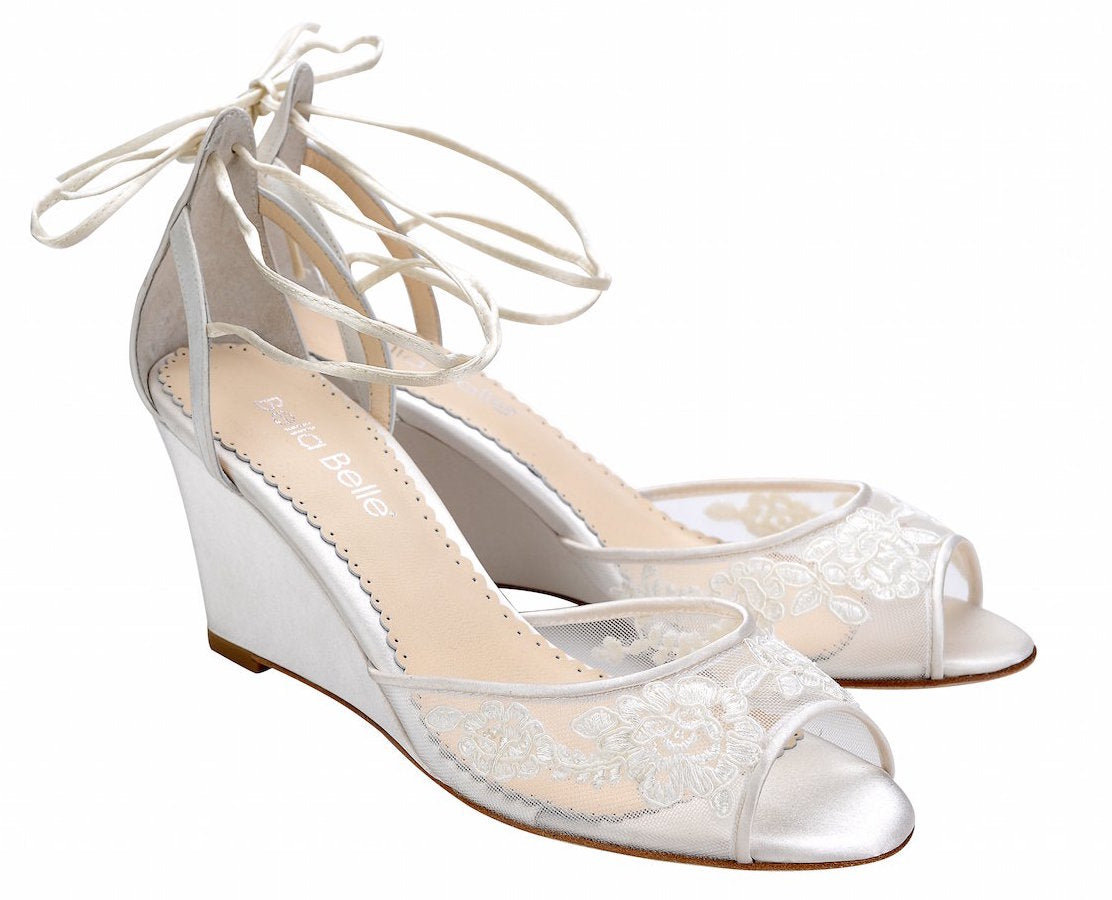 bella belle shoes pamela ivory lace wedding wedge