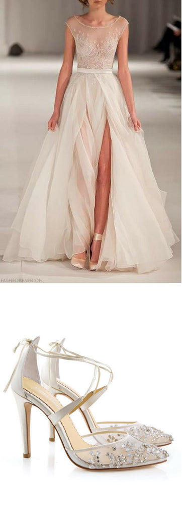 Bella Belle Shoes Florence Heels Sexy Glam Beaded Mesh Ankle Wrap And Paolo Sebastian Swan Lake
