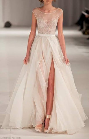 Paolo Sebastian Swan Lake Tulle Illusion Neckline Sexy Glamour Wedding Dress