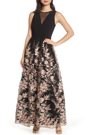 bella belle nordstrom black wedding guest dress floral