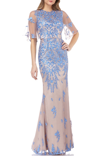 bella belle nordstrom blue floral wedding guest dress