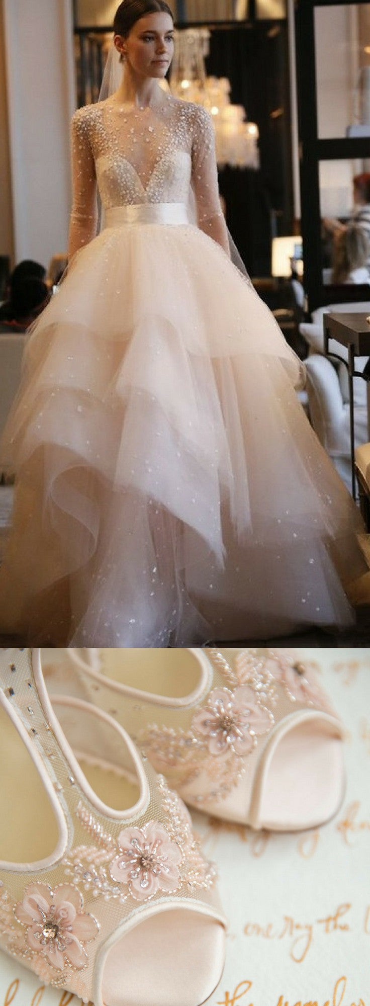 Bella Belle Shoes Paloma Blush and Monique Lhullier wedding dress Aviva