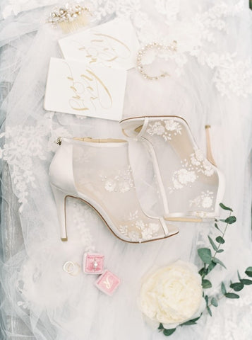 Bella Belle 3D floral embroidered wedding bootie by Joy Proctor