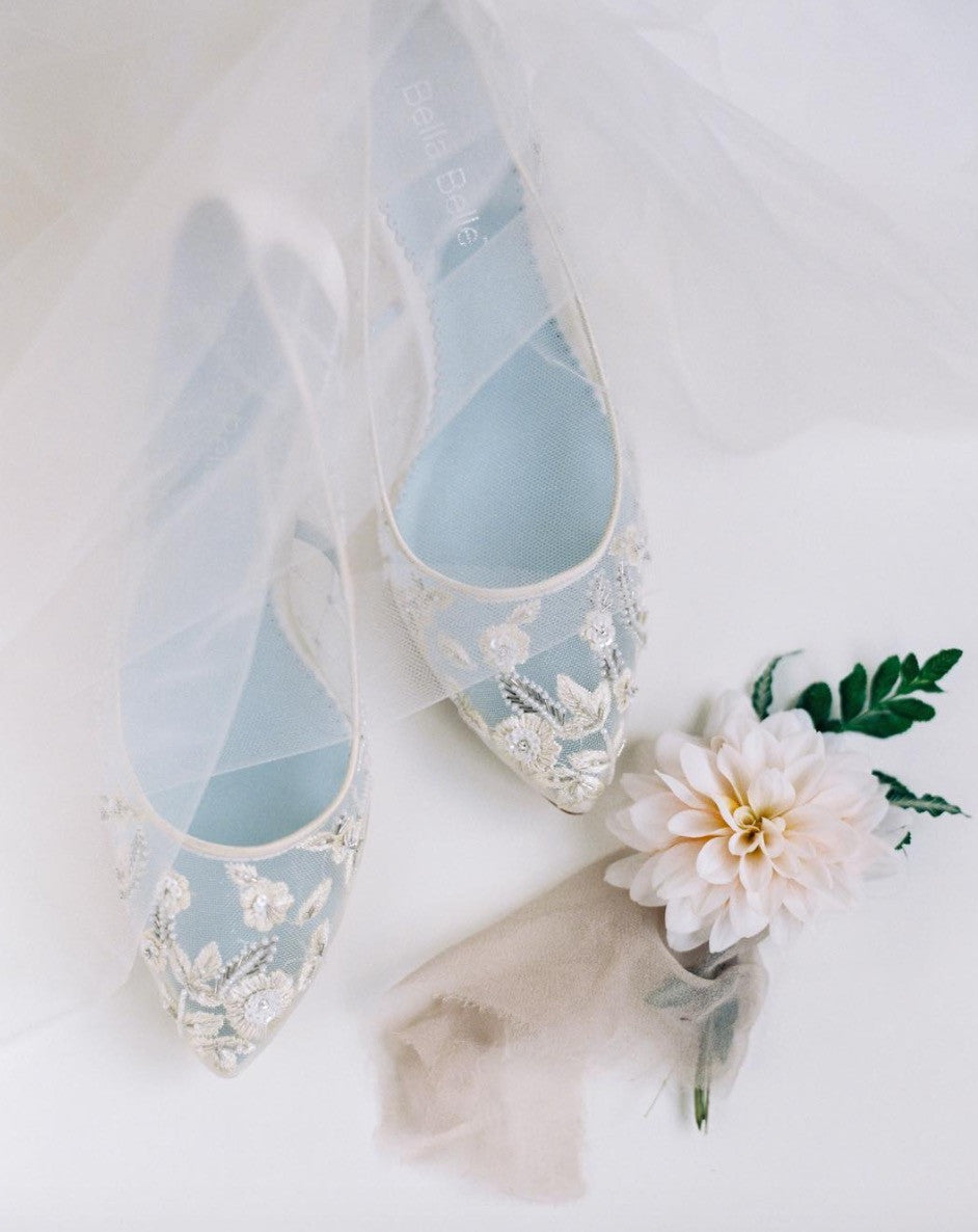 Wedding Flat Allegra is white, lace, floral, and for the feminine bride.