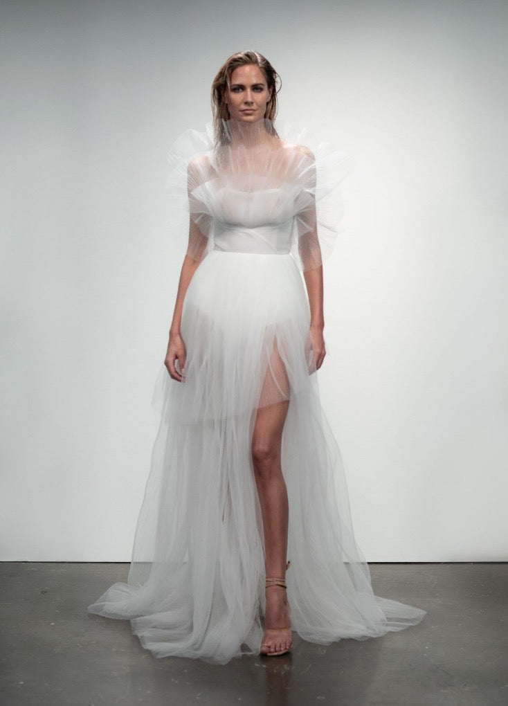 Rime Arodaky bridal pleated tulle wedding dress