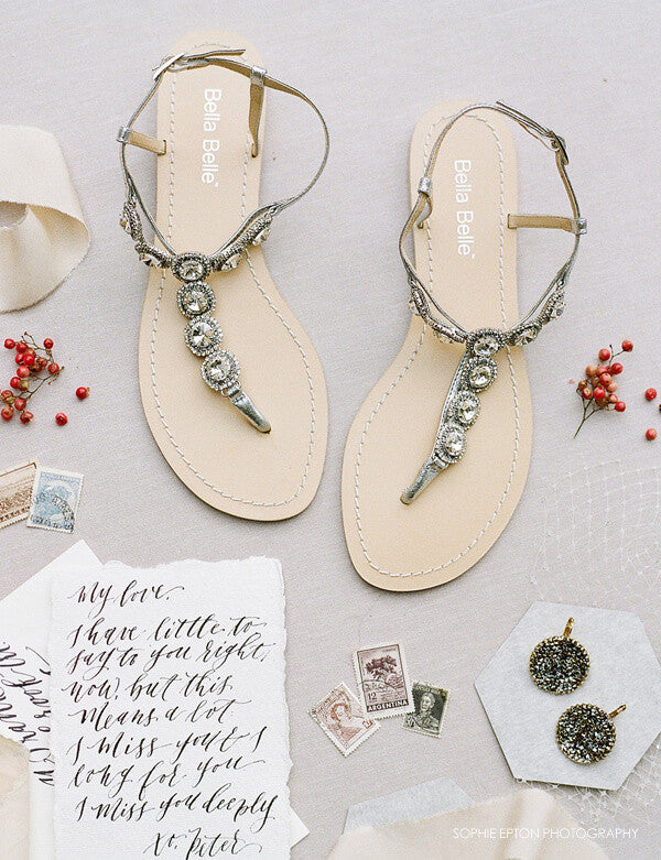 Silver beach wedding sandals with rhinestones