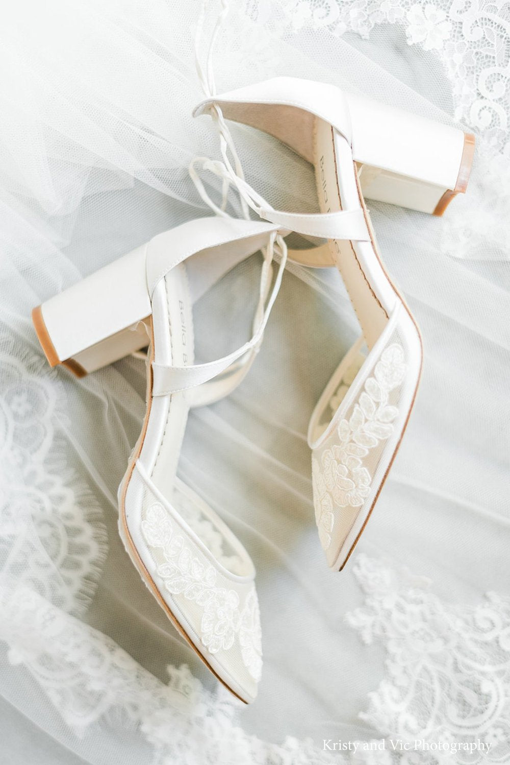 bella belle abigail ivory lace wedding block heel