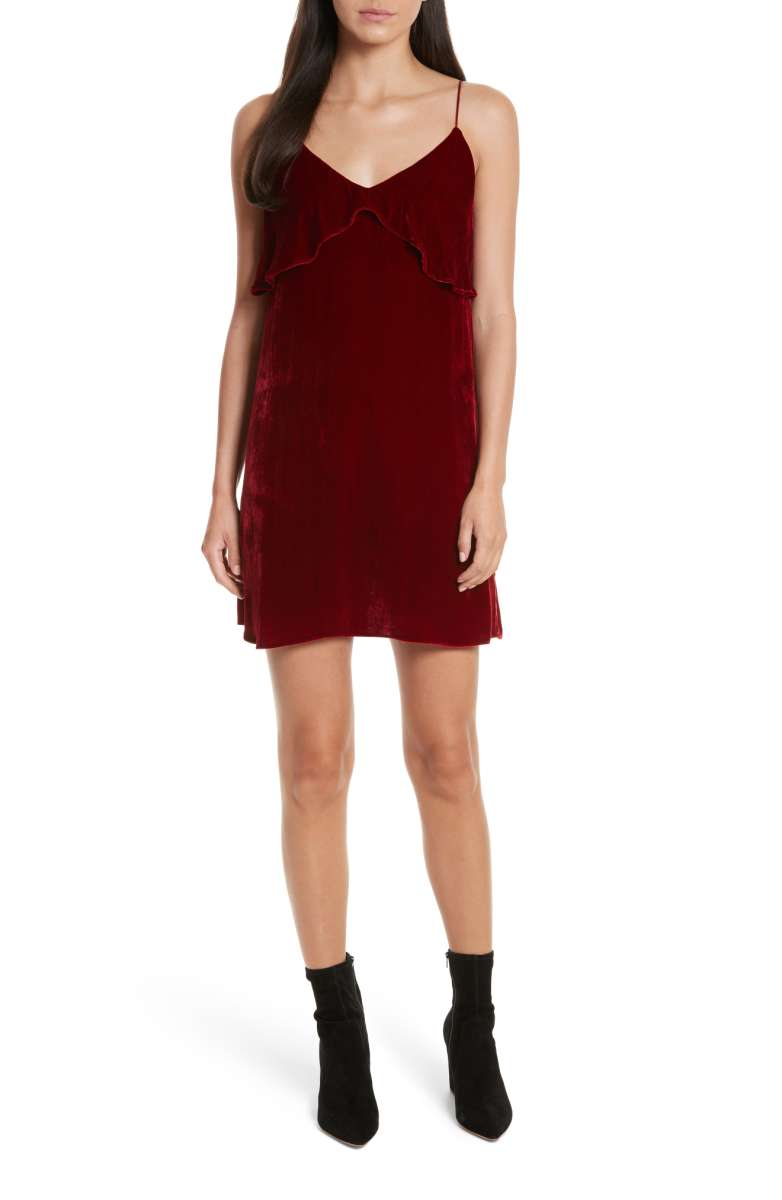 alice and olivia velvet maroon slip dress