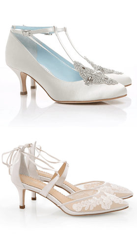 Annalise vintage white crystal wedding low heel, Amelia ankle strap white feminine, romantic and classic wedding low heel