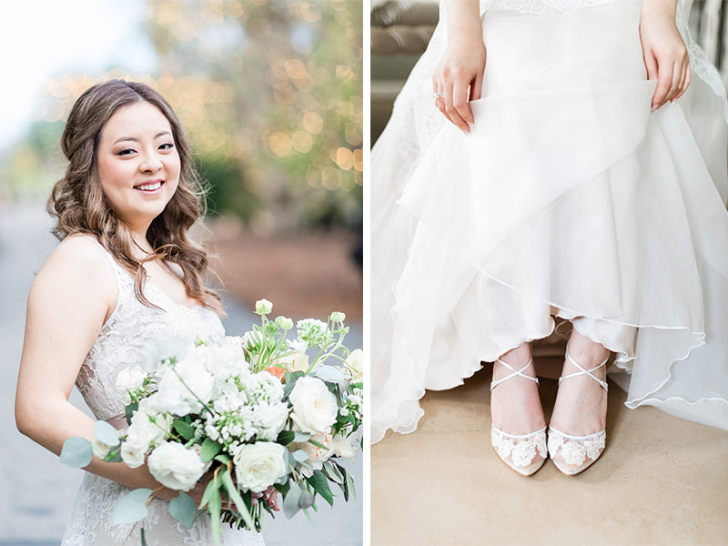bella belle real bride review cavin elizabeth photography anita lace ivory wedding heel
