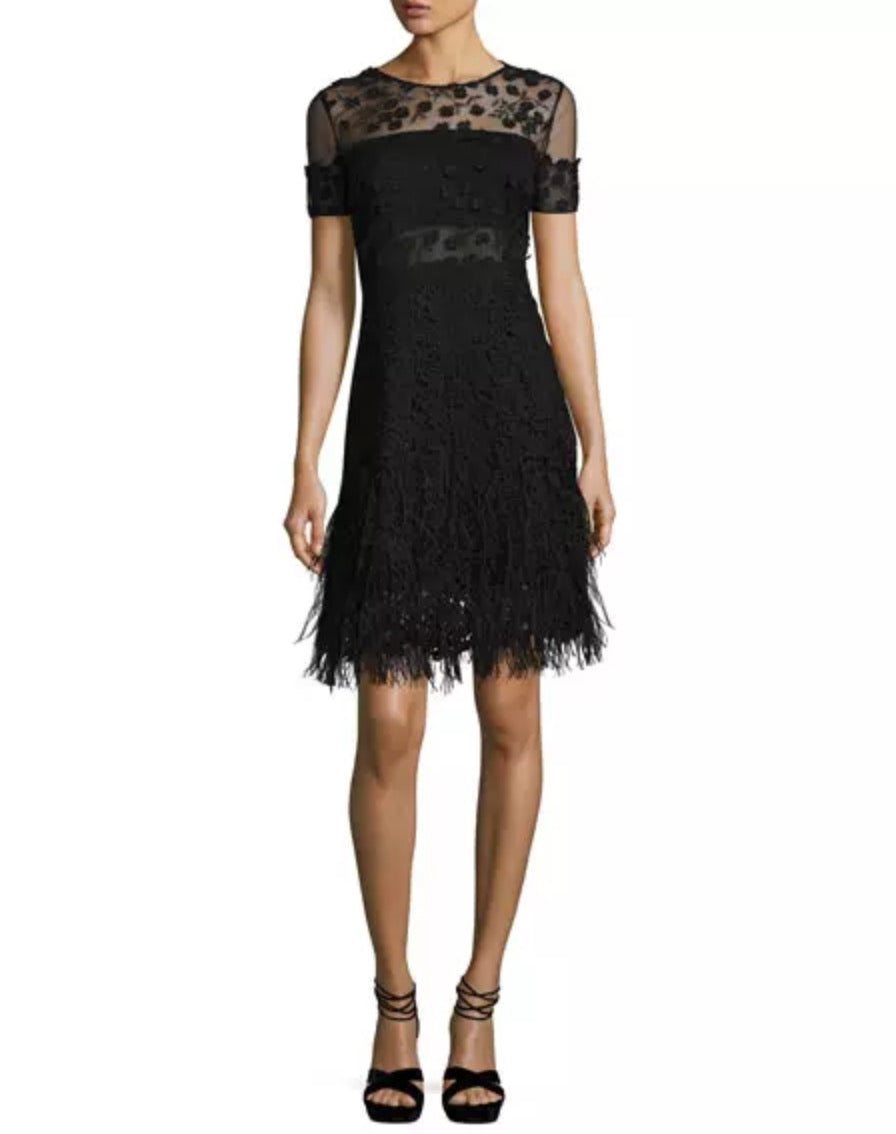 elie tahari lace black dress