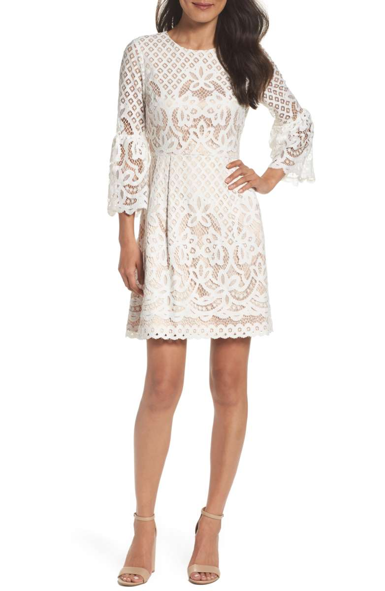 eliza j lace white dress
