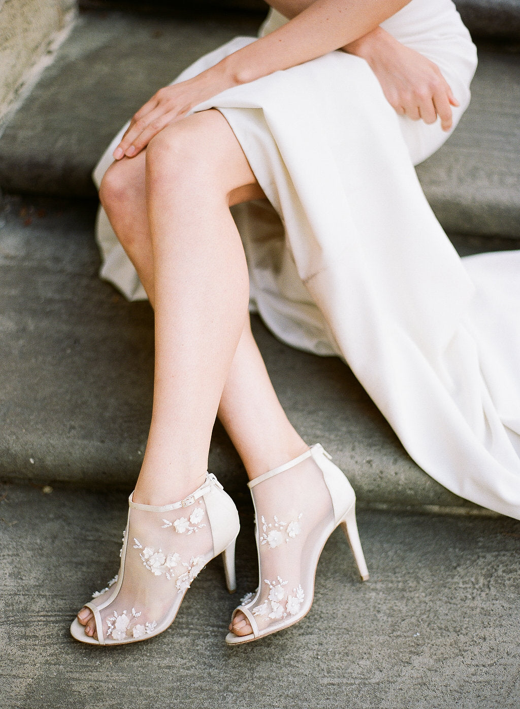 bella belle flower chiffon belle wedding bootie