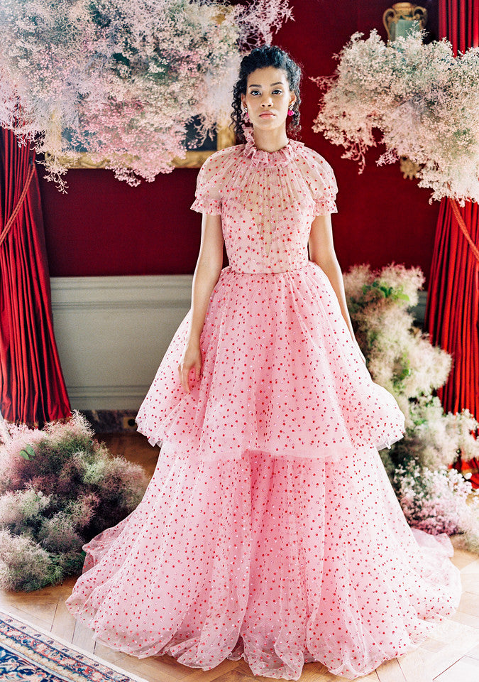 pink tiered Monique Lhuillier dress