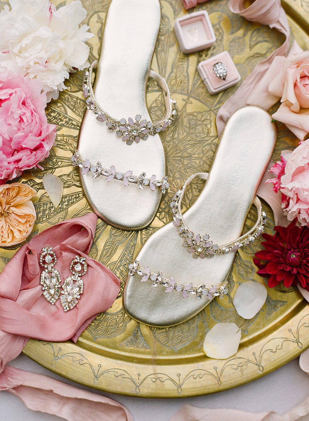 Bella Belle embellished comfortable pink crystal wedding sandal