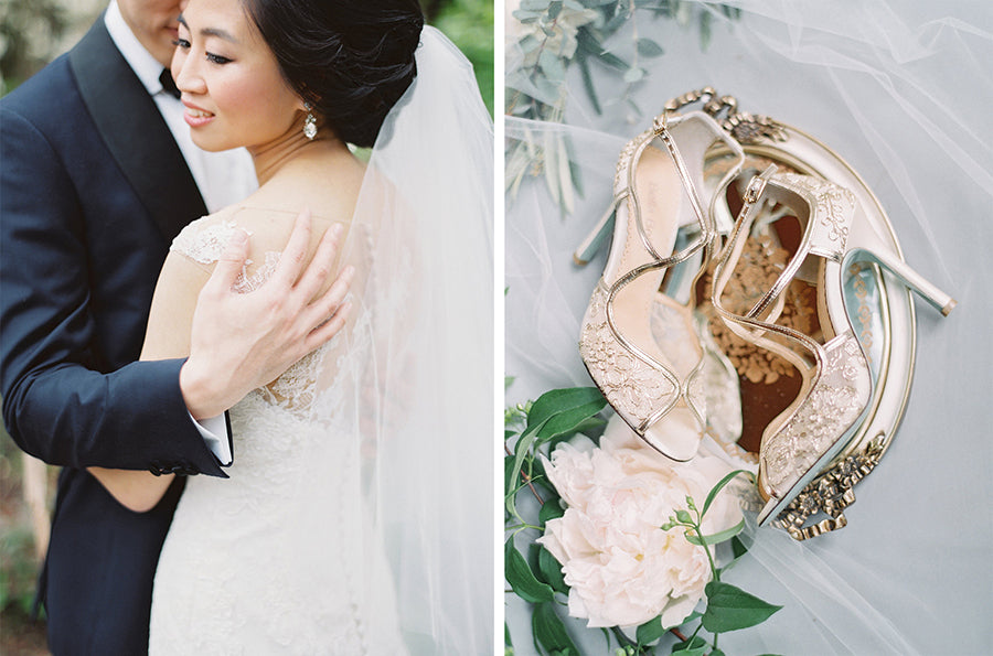 bella belle real bride katherine review wearing tess gold wedding shoe