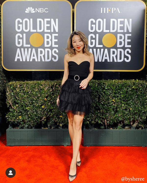 bella belle golden globe awards sequin black heel
