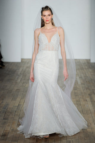 Hayley Paige Fall 2018 Wedding Dress Corset Inspired Deep V Neck White