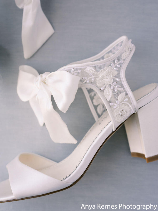 Bella Belle Camilla open toe block heel wide feet bridal