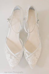 Bella Belle Candice Ivory lace wedding kitten heel