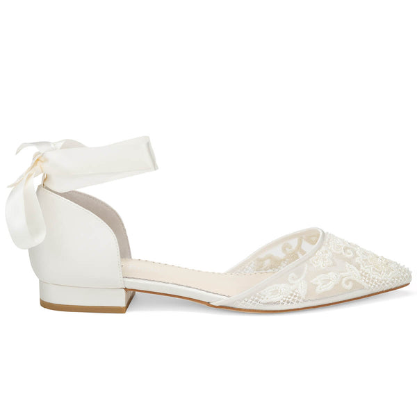 Bella Belle Ivy lace and pearl wedding shoes