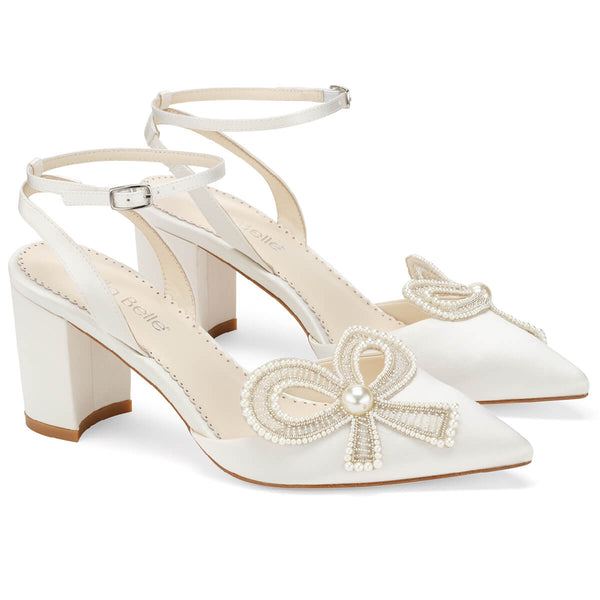 Bella Belle Kayla pearl bow shoes