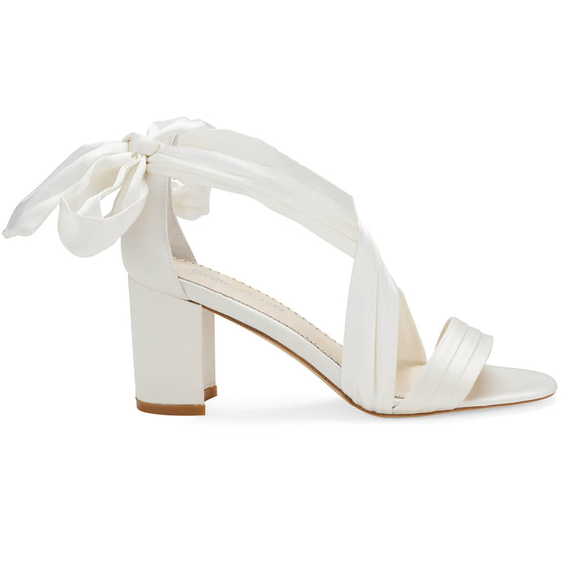 Bella Belle Kelly ivory ribbon heels