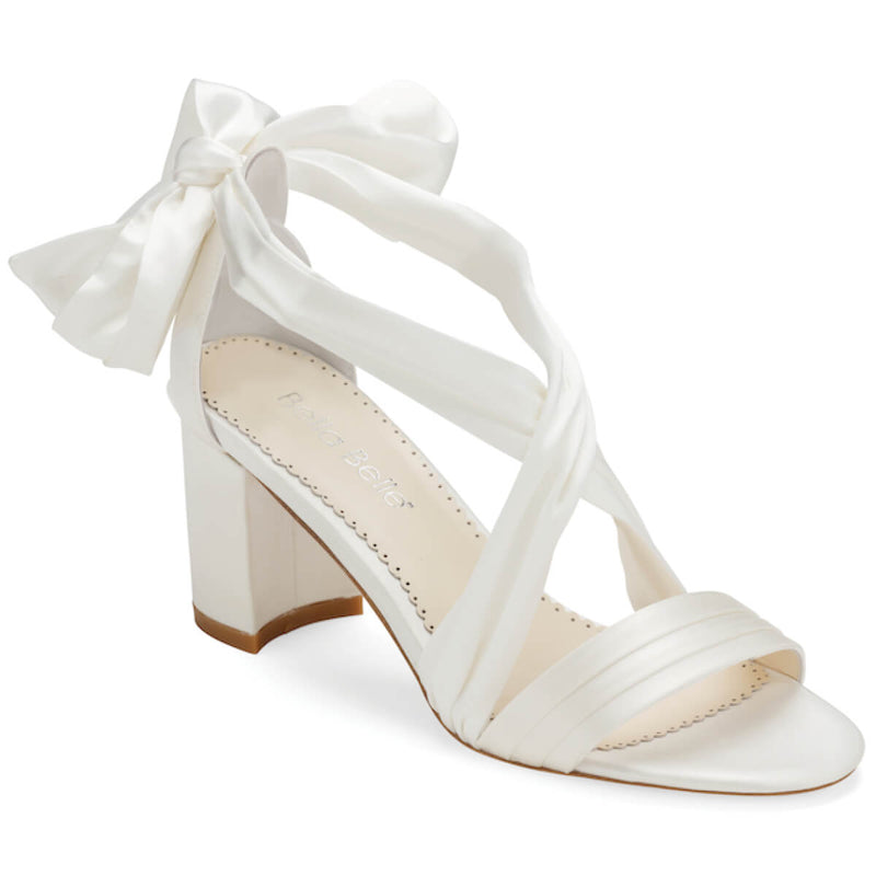 Bella Belle Kelly white ribbon heels