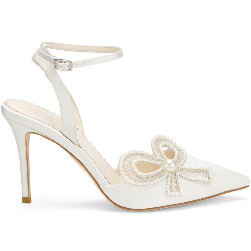 Bella Belle Kenzie ankle strap heels with bow bridal.