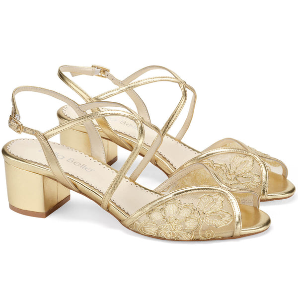 Bella Belle Loretta gold block heel shoes