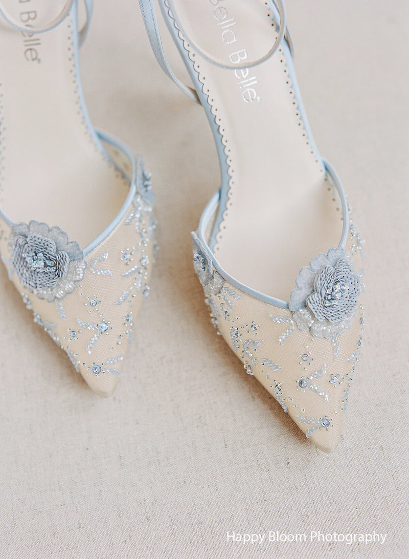 Bella Belle Norah Blue flower beaded wedding heel