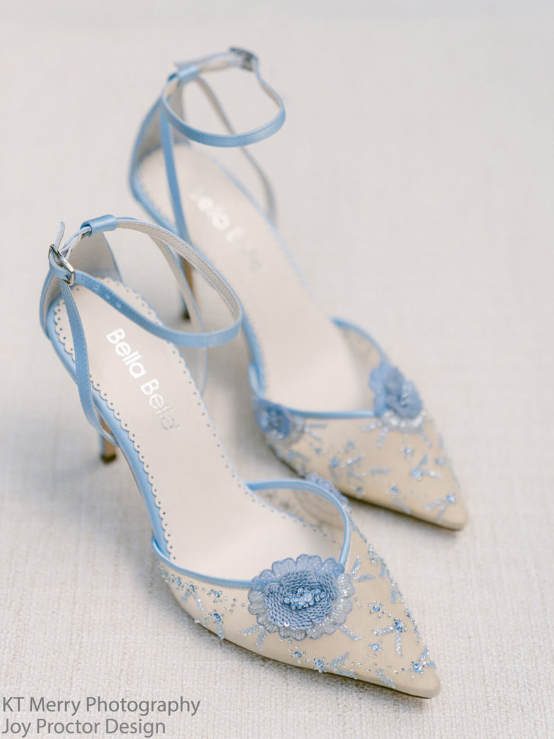 Bella Belle Norah blue ankle strap heels with flower