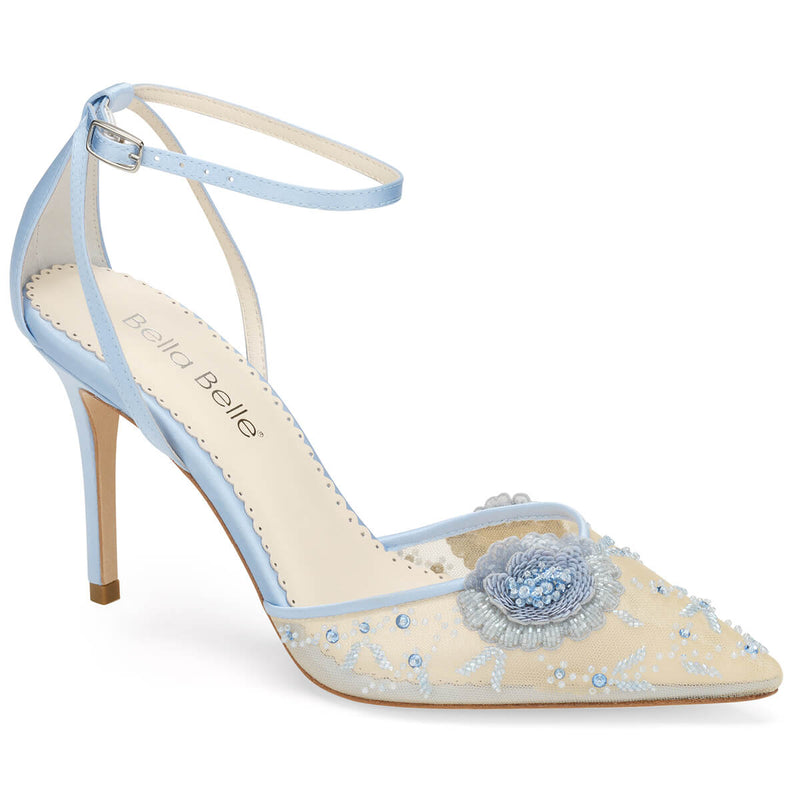 Bella Belle Norah blue heels with ankle strap