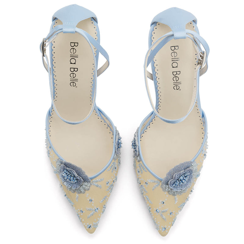 Bella Belle Norah blue heels with ankle strap wide feet