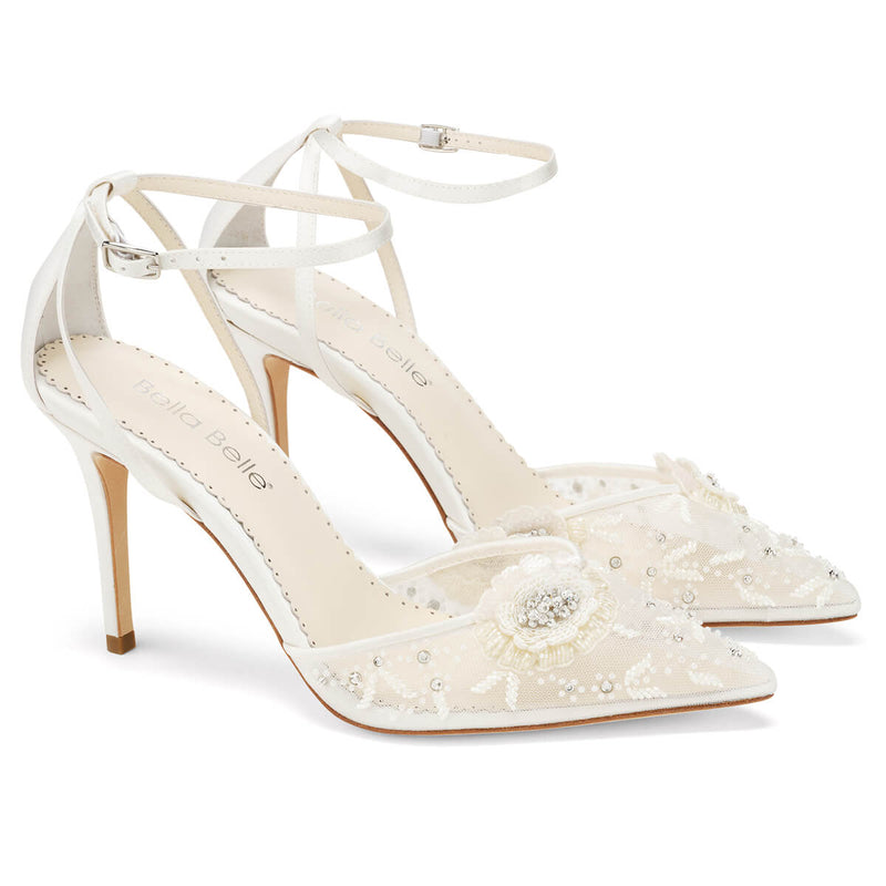 Bella Belle Norah ivory flower shoes