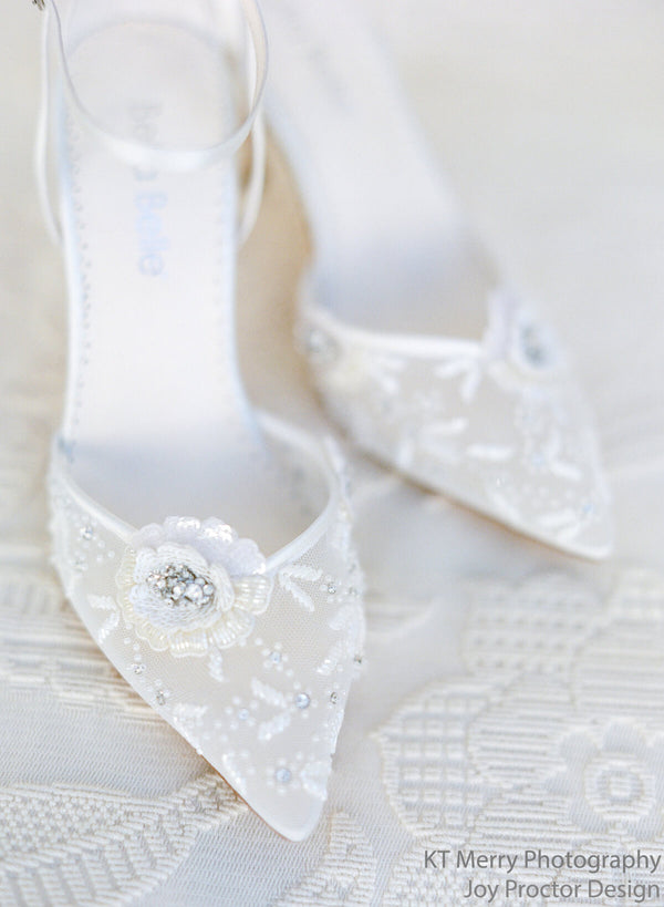 Bella Belle Norah ivory flower shoes heels