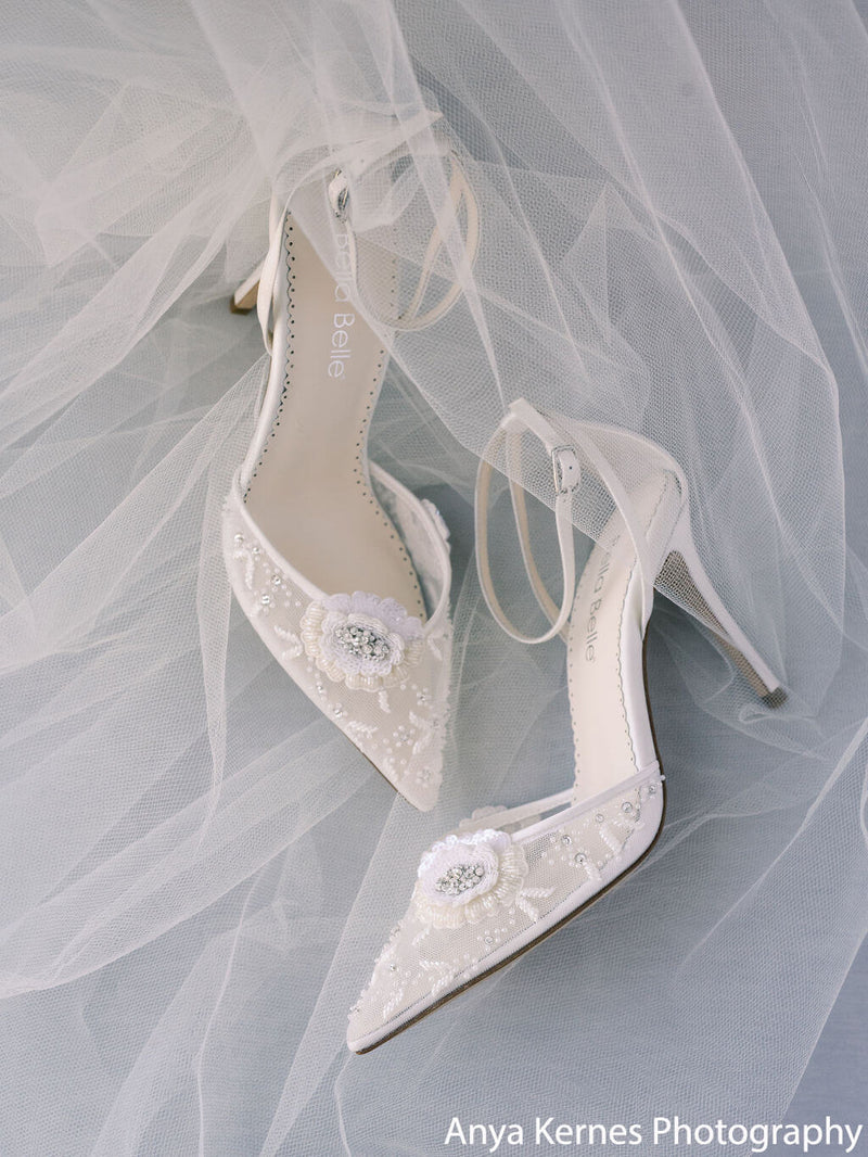 Bella Belle Norah white floral heels wedding