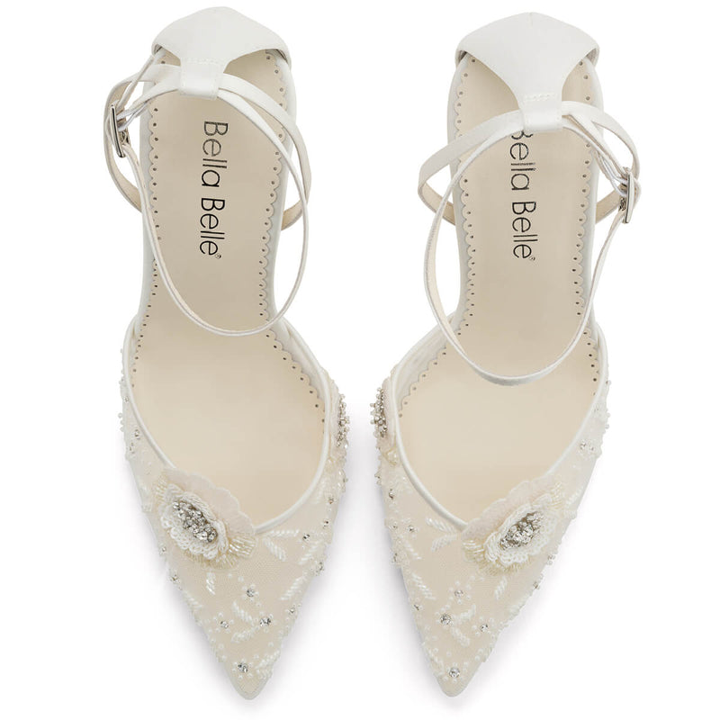 Bella Belle Norah white floral pumps