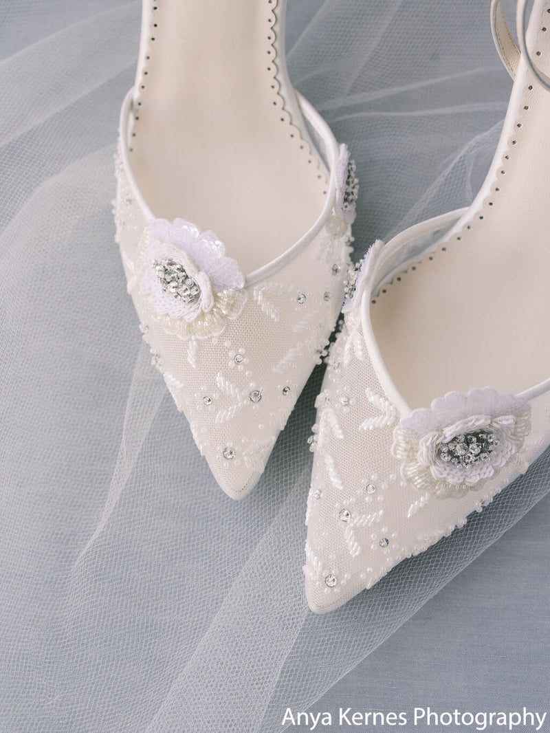 Bella Belle Norah white floral shoes wedding