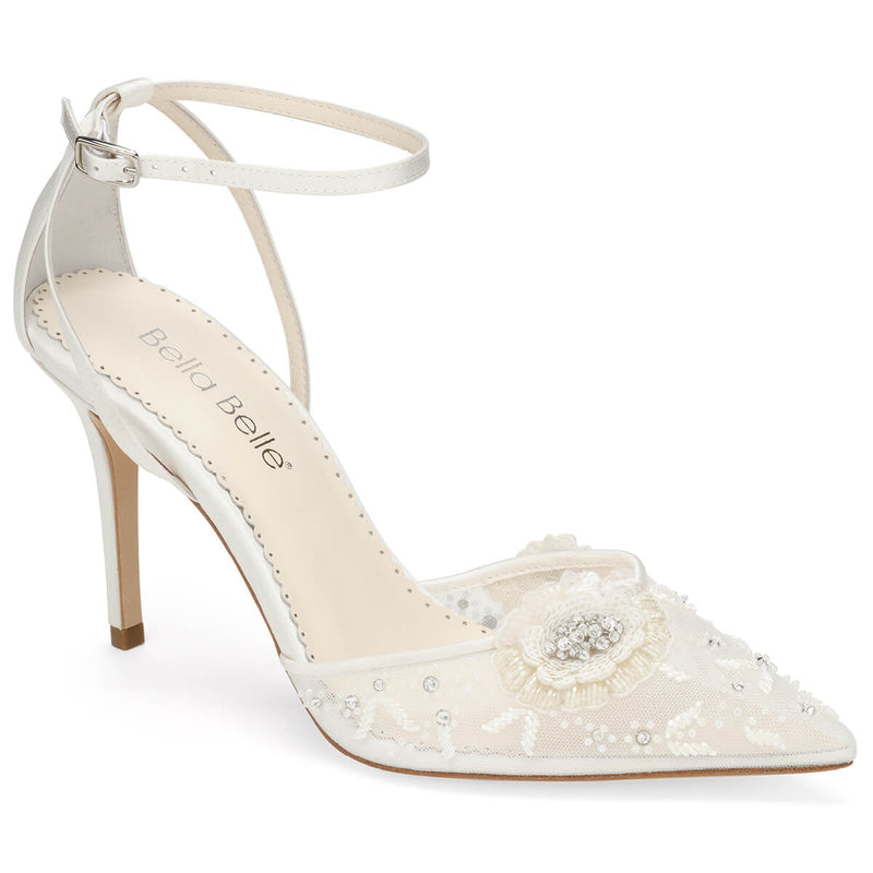 Bella Belle Norah white floral shoes