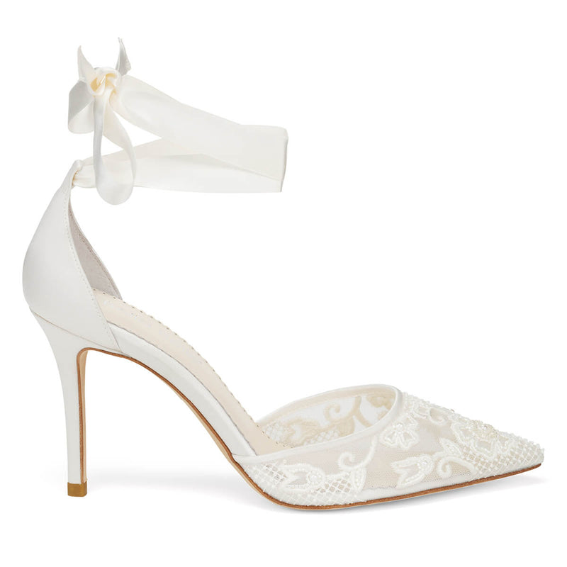 Bella Belle Penelope lace and pearl wedding shoes