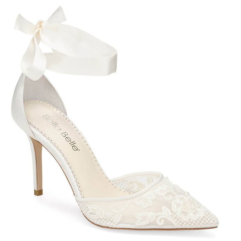 Bella Belle Penelope lace pearl wedding shoes