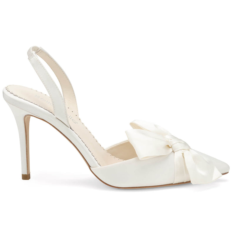 Bella Belle Reese pointed toe heels with bow ivory