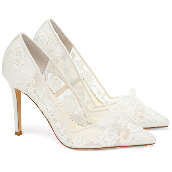 Bella Belle Sophia white flower wedding shoes