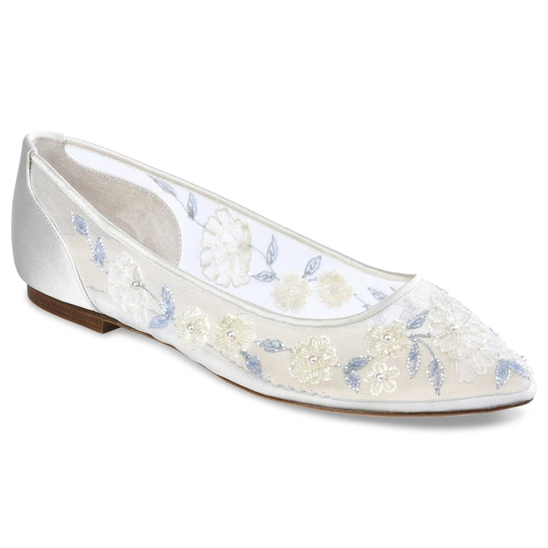 Bella Belle Fiona Baby Blue Floral Lace Ivory Wedding Flats