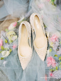 Bella Belle Elsa Nude Sequin Crystal Illusion Wedding Shoes