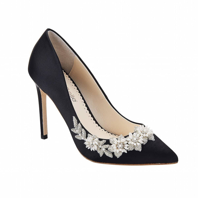 bella belle jasmine floral pearl black evening pump-Front View