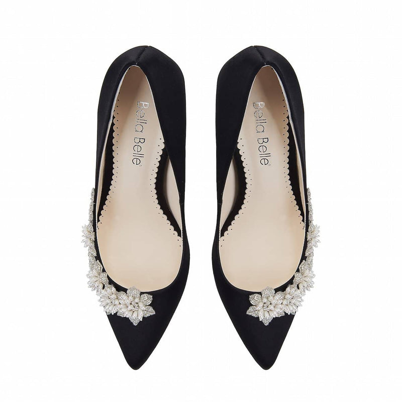 bella belle jasmine floral pearl black evening pump-Front Look